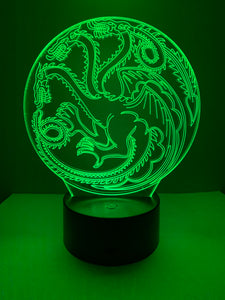 Lampe 3D DEL Dragon Game of thrones House Targaryen