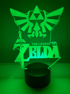 Lampe 3D DEL The Legend Of Zelda et Hylian Crest