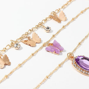 GLO Layered Butterfly Crystal Necklace - Glo Babe