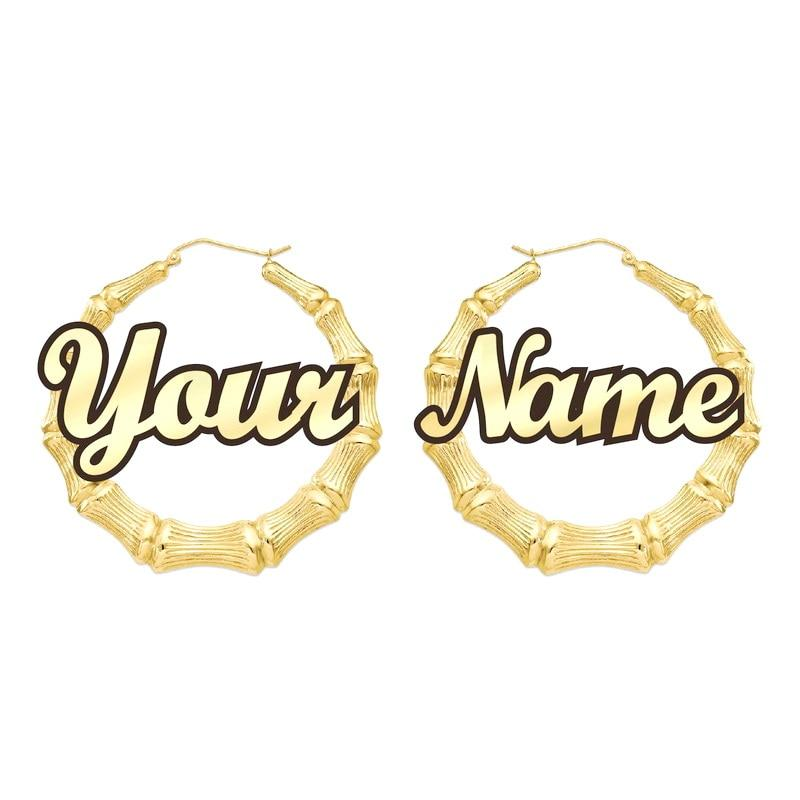 GLO BAMBOO NAME EARRINGS PERSONALIZED