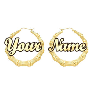 GLO BAMBOO NAME EARRINGS PERSONALIZED - Glo Babe