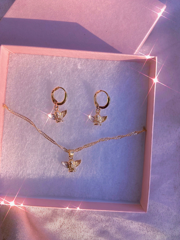 Cherub Love Gift Set Earrings + Necklace