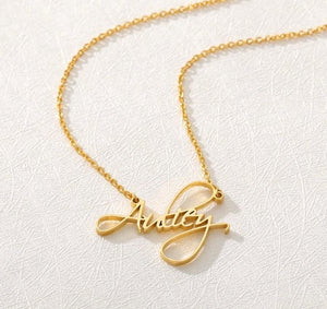 GLO PLATE FANCY SCRIPT Necklace Glo Babe