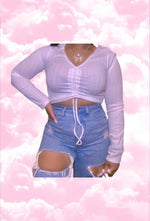Mean Gal Strap Ruched Crop top Long sleeve