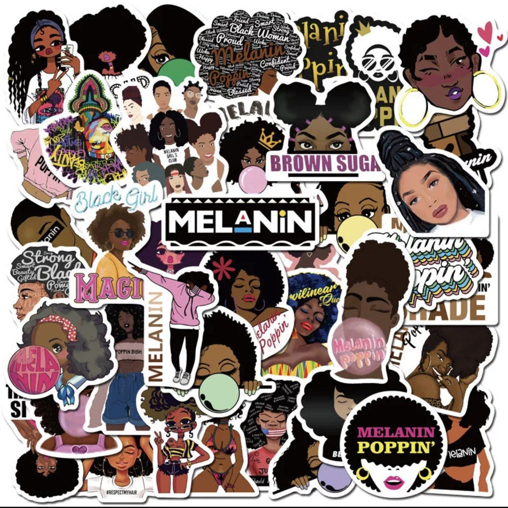 Load image into Gallery viewer, Melanin Poppin' Stickers - Glo Babe