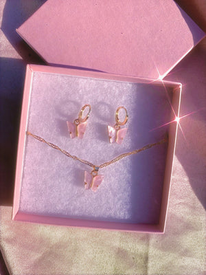Pink  Butterfly Acrylic Gift Set Earrings + Necklace - Glo Babe