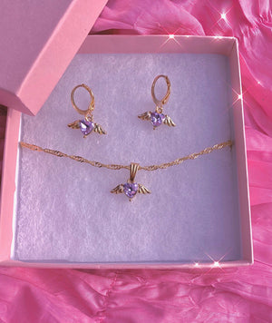 Load image into Gallery viewer, Angel Has Wings Amethyst Necklace + Earrings Set