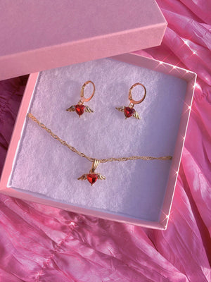 Angel Has Wings Ruby Necklace + Earrings Set Glo Babe