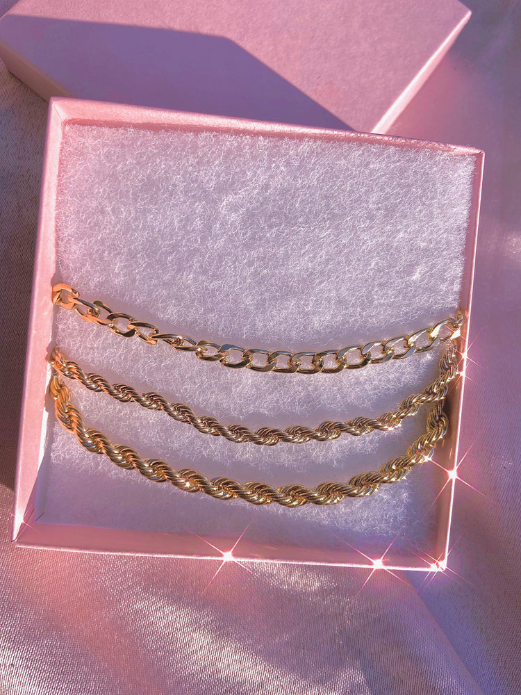 Gold Rope Trio Necklace Set