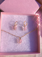 Pink  Butterfly Acrylic Gift Set Earrings + Necklace
