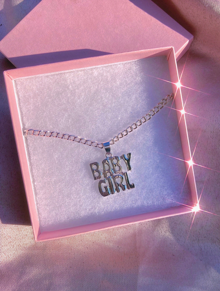 Babygirl Nameplate Silver Pendant Necklace