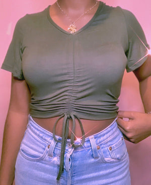 Don't Rush Cropped Top COZY Glo Babe S OLIVE