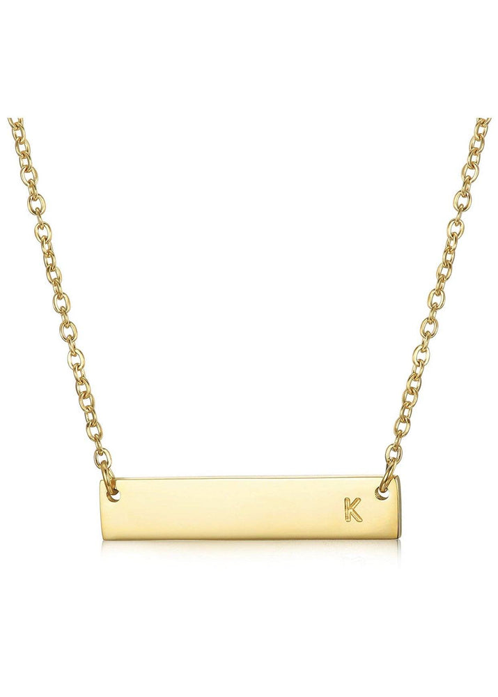 LAYER BABE GOLD INTIAL BAR NECKLACE - Glo Babe