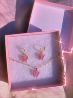 Purple Butterfly Acrylic Gift Set Earrings + Necklace
