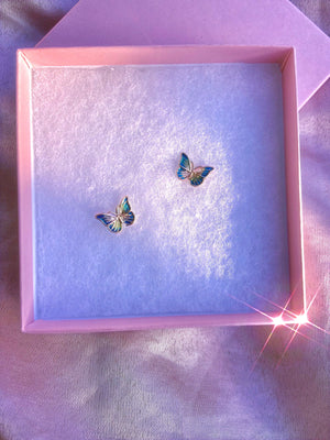 Load image into Gallery viewer, Butterfly Love Turquoise Earring Studs .925