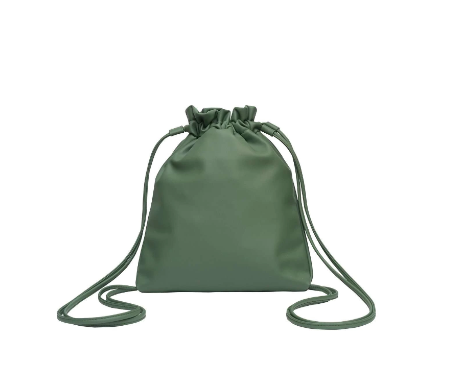 Vegan Leather Cinch Backpack in Frog | Hozen Collection