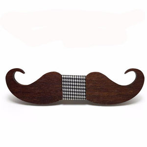 Handmade mustache Wooden bow tie men