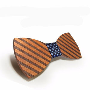 Striped classic Wood Bow Tie For Men