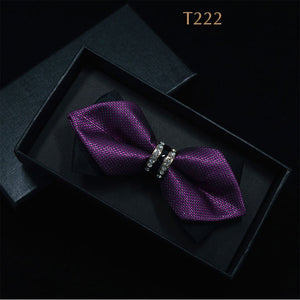 Bling Crystal Metal Decoration Sharp Corners Bow Tie for Men