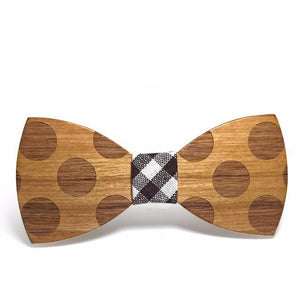 Solid Dotted Wooden Bow Tie For Men