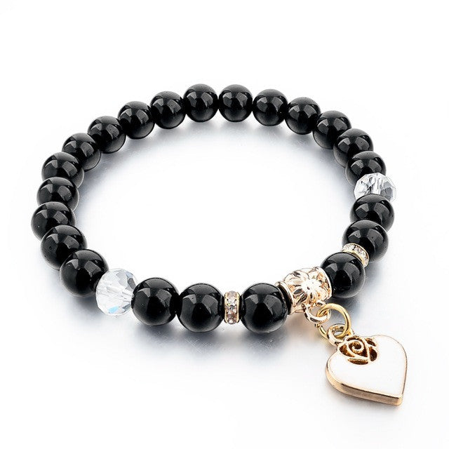 Heart Charm Natural Stone Bracelets For women