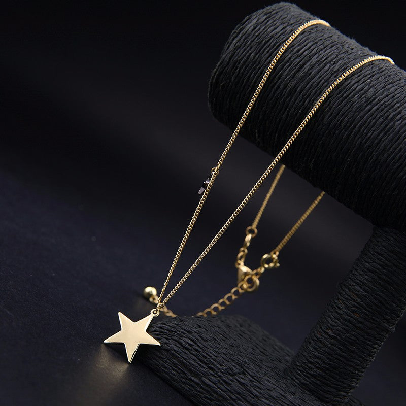 Three Layers Alloy Stars Moon Choker Necklace