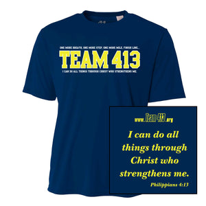 TEAM 413: Men's A4 SS Tech Tee - Navy w/ Yellow Print