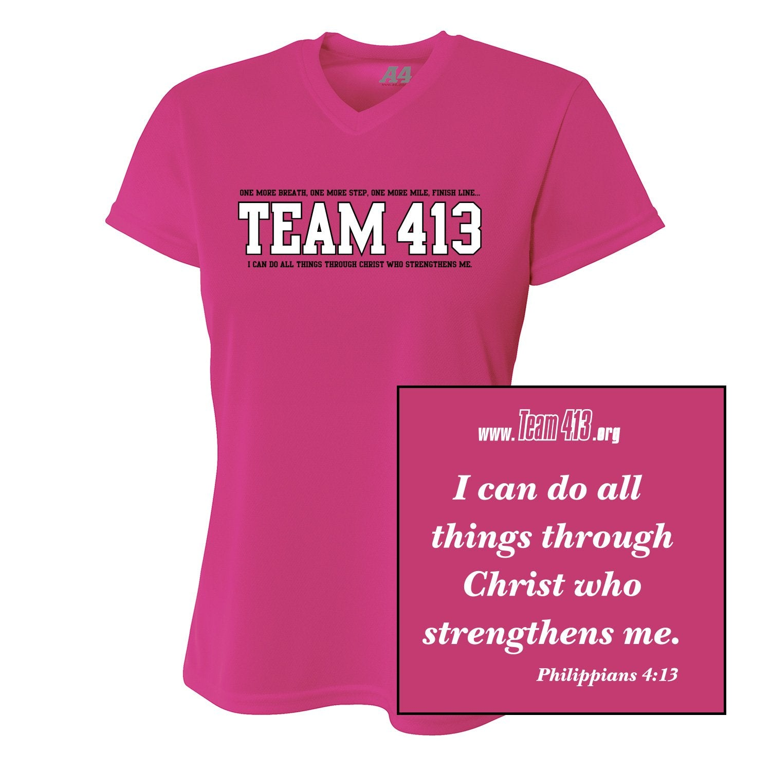 Team 413: Women's A4 SS V-Neck Tech Tee - Fuschia