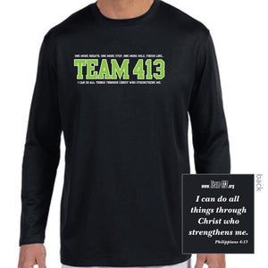 TEAM 413: Men's LS Tech Tee - Black