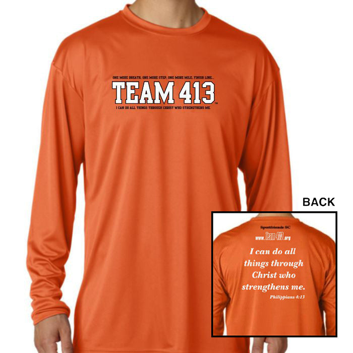 TEAM 413: 'TEAM 413' Design Men's LS Tech Tee - Athletic Orange