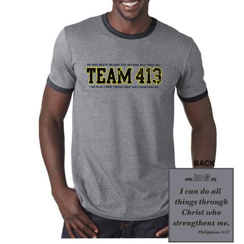 TEAM 413: Adult Short Sleeve Ringer Tee - Heather Grey / Dark Grey