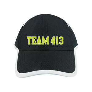 TEAM 413: Adult Microfiber Cap - Black / White Trim