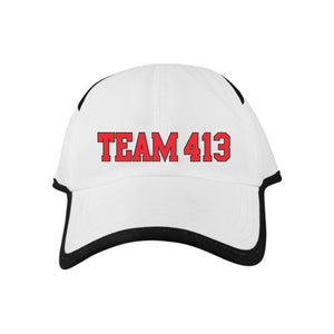 TEAM 413: Design Adult Microfiber Cap - White / Black Trim