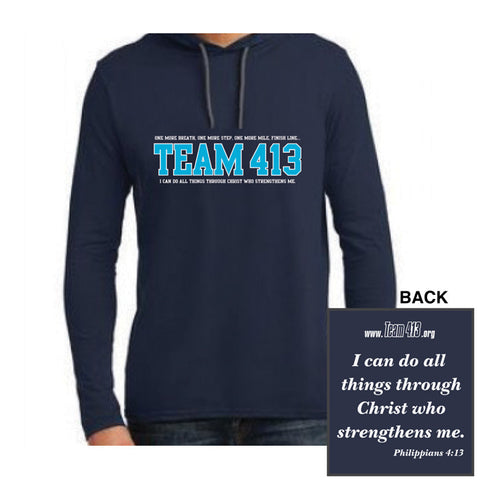 TEAM 413: Adult Long Sleeve Hooded Tee - Navy