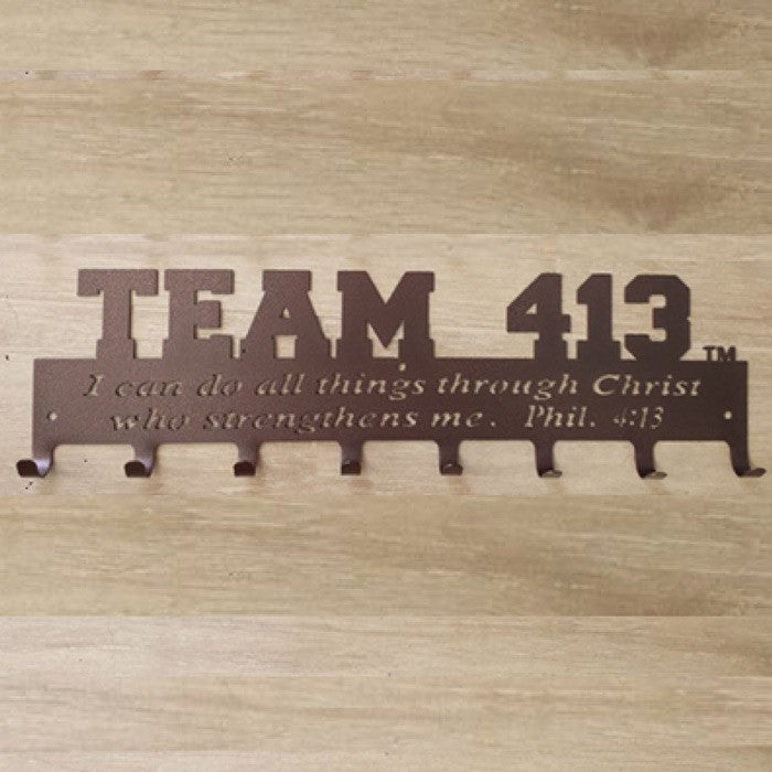 TEAM 413: Powder Coated 18 Gauge Steel Medal Display Hanger - Bronze