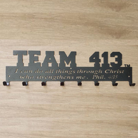TEAM 413: Powder Coated 18 Gauge Steel Medal Display Hanger - Dark Grey