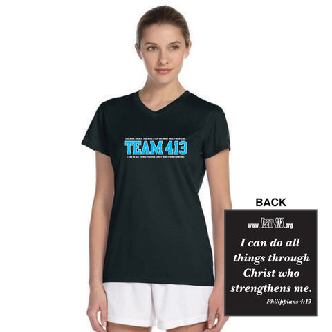 TEAM 413: Women's SS Tech Tee - V-Neck - Black