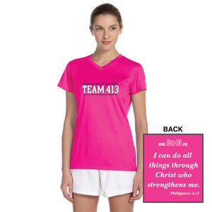 TEAM 413: Women's SS Tech Tee - V-Neck - Safety Pink