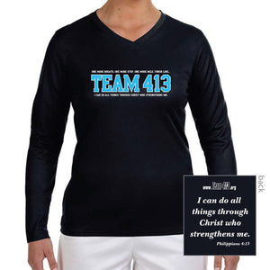 TEAM 413: Women's LS Tech Tee - Black
