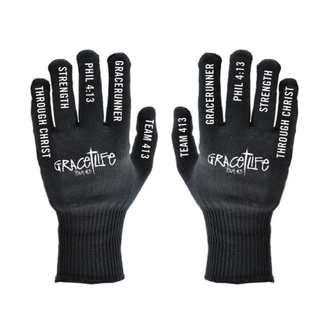 TEAM 413: 'GraceLife' Design Adult Knit Gloves - Black