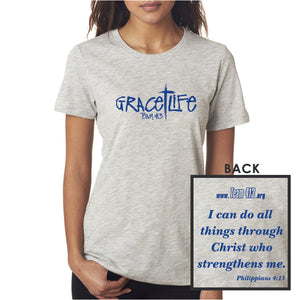 TEAM 413: 'GraceLife' Design Women's SS Slub Tee - Lt Grey Heather