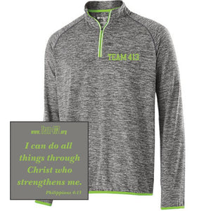 TEAM 413: Men's Tech Pullover - 1/4 Zip Carbon Heather / Lime