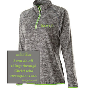 TEAM 413: Women's Tech Pullover - 1/4 Zip Carbon Heather / Lime
