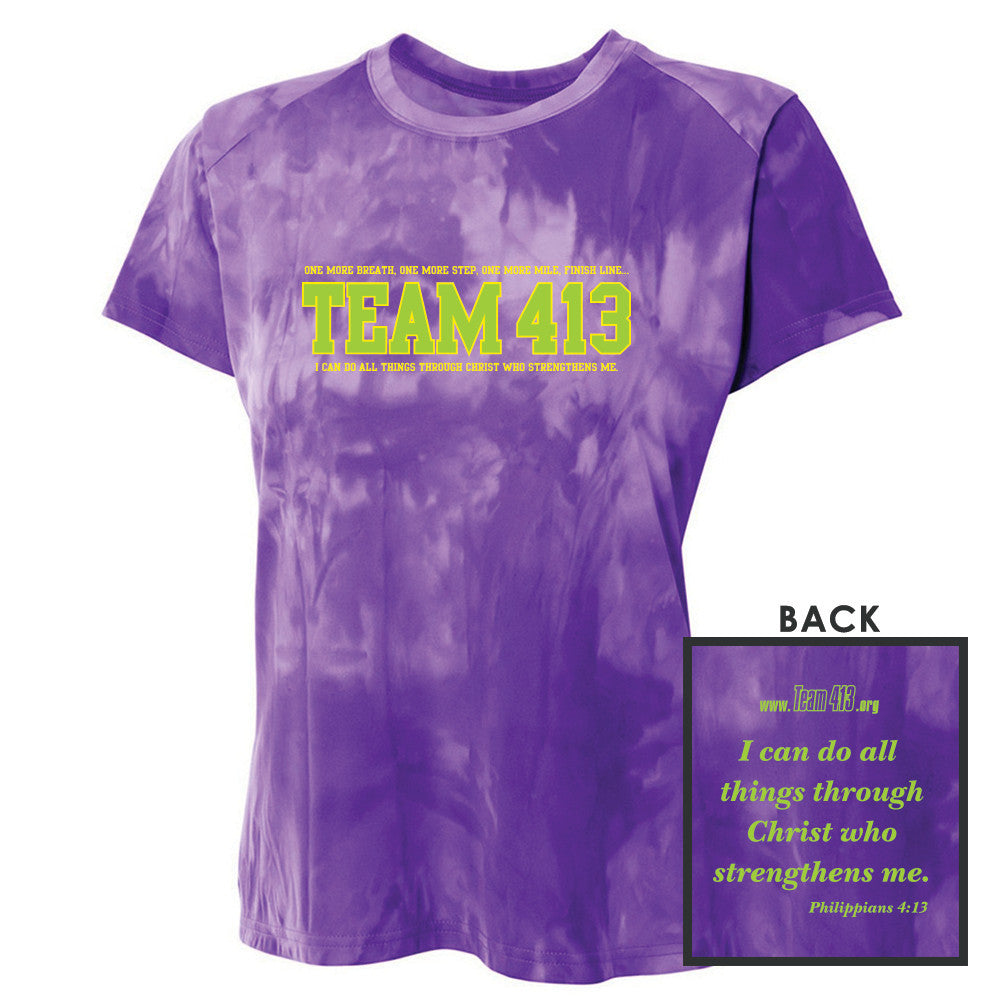 TEAM 413: Women's SS Cloud Dye Tech Tee - Purple