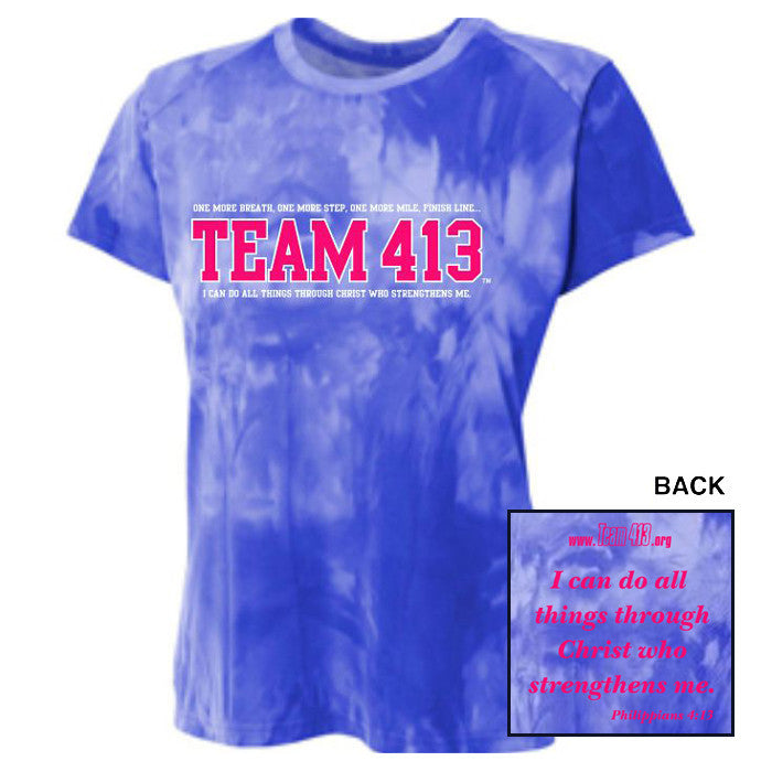 TEAM 413: Women's SS Cloud Dye Tech Tee - A4 Royal