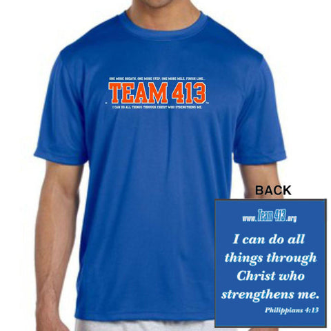 TEAM 413: Men's SS Tech Tee - Royal w/ Orange Print