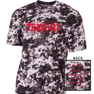 TEAM 413: Men's SS Camo Tech Tee - White