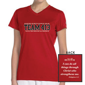 TEAM 413: Women's SS Tech Tee - Cherry Red