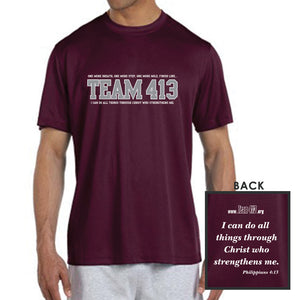 TEAM 413: Men's SS Tech Tee - Maroon