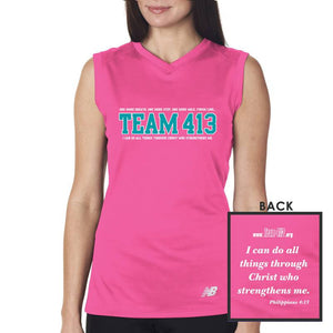 TEAM 413: Women's Sleeveless Tech Tank - Safety Pink